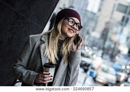 Hipster Girl Talking On The Phone