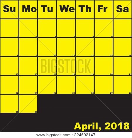 2018 April yellow on black planner calendar with huge space for notes