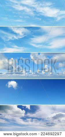 Vertical collage with clouds - cumulus, cirrus, rain, clear sky for project.