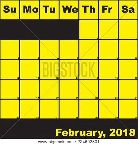 2018 February yellow on black planner calendar with huge space for notes