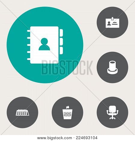 Set of 6 workspace icons set. Collection of chair, badge id, calendar and other elements.