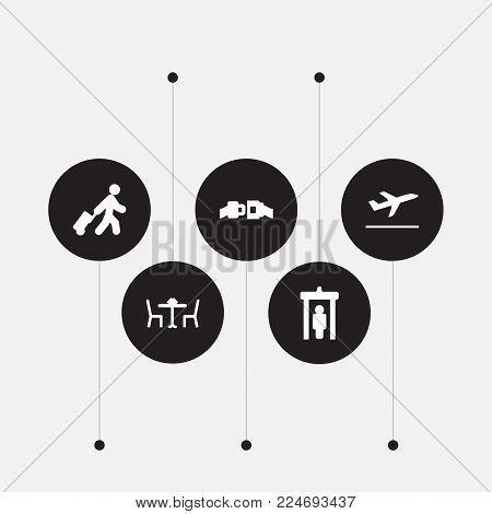 Set of 5 airplane icons set. Collection of departures, safety belt, cafe and other elements.