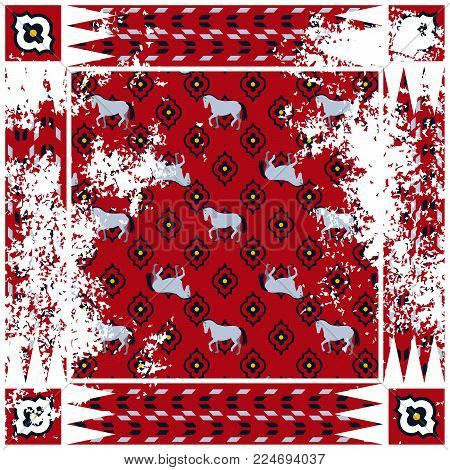 Horse red rough rug vector square design. Persian style vintage rug decor with loose texture.