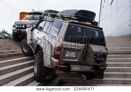Akureyri Iceland - June 17. 2015: Icelandic Modified Nissan Patrol On Big Tires