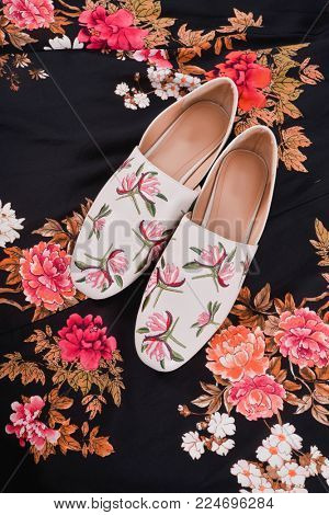 Woman Sundress Clothes with Seamless pattern with flowers. fabric surface textures with shoes