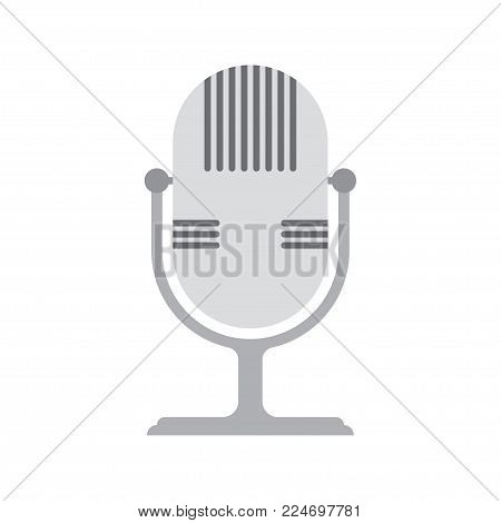 Retro microphone icon. Flat design. Vector illustration