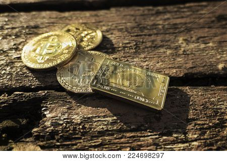 Close up photo of 3 shiny Bitcoins (BTC) and golden US ounce on wooden background with sunlight. Digital gold. Small golden brick with bitcoins. Isolated cryptocurrency in nature.