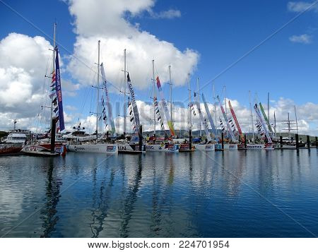 Airlie Beach, Queensland, Australia-January 16, 2016:  A row of yachts in Airlie Beach Marina partway through the 2015-16 Clipper Round the World Yacht Race