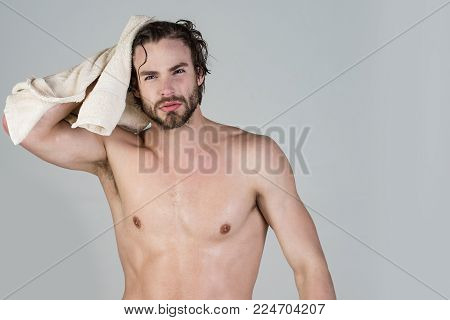 Man With Wet Hair Hold Towel After Shower. Morning Washing, Wake Up, Everyday Life. Refreshment, Hea
