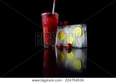 Cocktail With Red Strawberry And Ice Cube Isolated On Black Background, Bar, Thirst And Refresh, Coc