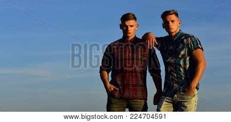 Man Twins With Athletic Body, Family Values. Fashion For Men, Summer. Future And Freedom, Support An