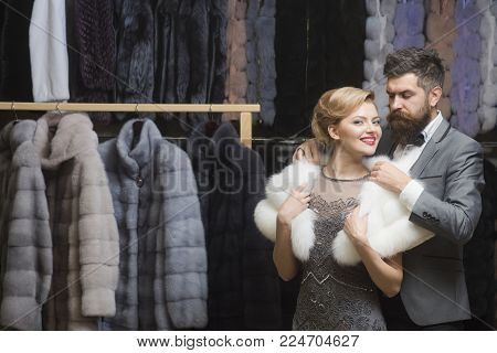 Business Meeting, Moneybags. Couple In Love Among Fur Coat, Luxury. Fashion And Beauty, Winter, Fur.