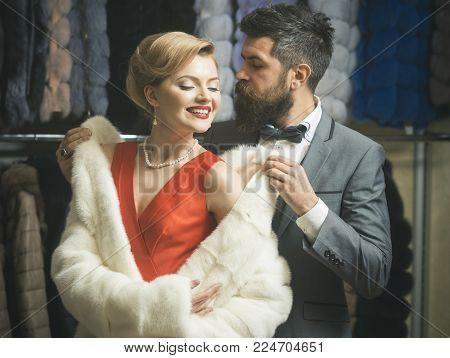 Business Meeting, Moneybags. Couple In Love Among Fur Coat, Luxury. Date, Couple, Love, Man And Woma