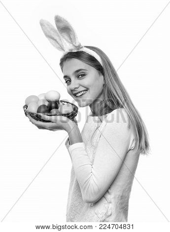 Happy Easter Girl In Pink Bunny Ears With Red Painted Egg As Traditional Spring Holiday Food In Bask