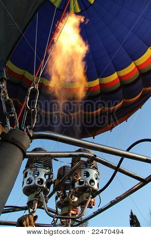 Hot Airballoon Getting Filled With Fire