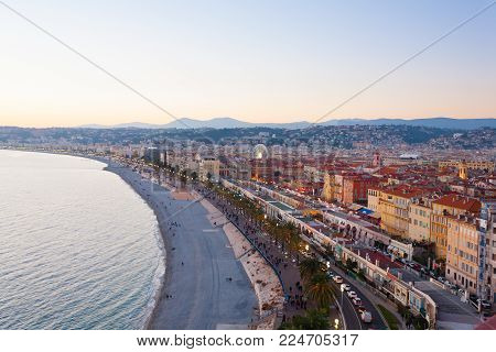 Nice Beach Day Landscape, France.  Nice Beach And Famous Walkway Of The English, Promenade Des Angla