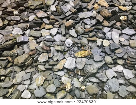 Large Group of Variety of Stones, Outdoors in Nature