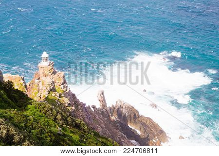 View of Cape Point lighthouse South Africa. African landmark. Navigation indicator