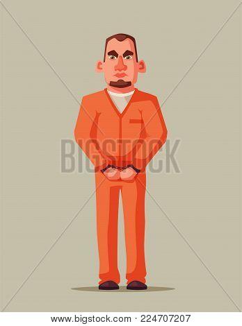Prisoner in prison. Character design. Cartoon illustration. Criminal in orange uniform. Angry and sad defendant