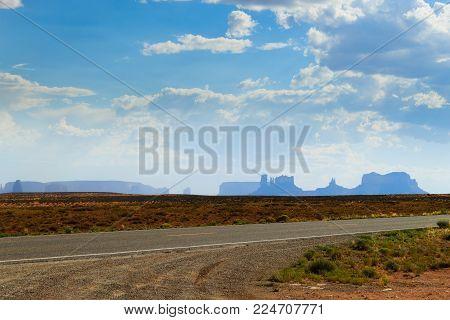 Road to Monument Valley, Arizona USA. Desert landscape