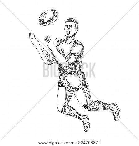 Doodle art illustration of Australian football or Australian player jumping, rebounding or catching the ball done in black and white.