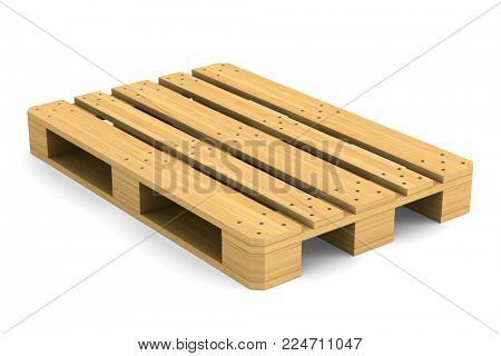 wooden pallet on white background. Isolated 3D illustration