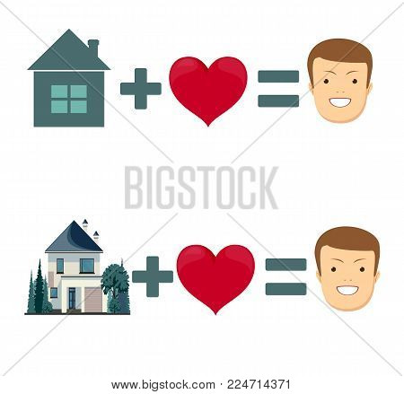 love and home is happiness on white background. Set . Stock flat vector illustration.