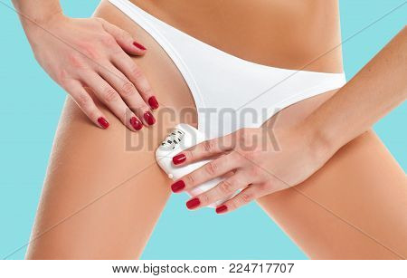 Epilation Concepts. Women health and intimate hygiene. Beautiful Woman's body with smooth soft skin in white bikini panties.