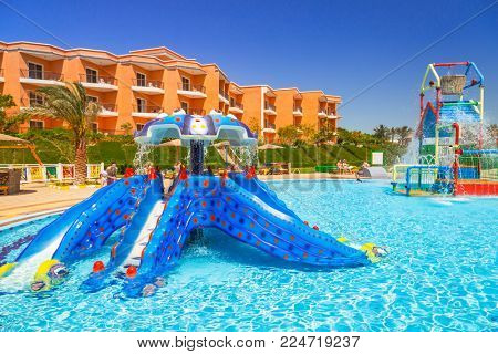 HURGHADA, EGYPT - APR 12, 2013: Kids playground with pools at Three Corners Sunny Beach resort in Hurghada. Three Corners is Belgian company with 11 hotels in Egypt and one in Budapest, Hungary.
