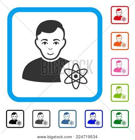 Cheerful Atomic Scientist vector icon. Human face has enjoy emotions. Black, gray, green, blue, red, pink color additional versions of atomic scientist symbol in a rounded square.