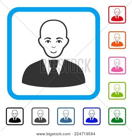 Glad Bald Clerk vector icon. Person face has joy emotions. Black, gray, green, blue, red, pink color additional versions of bald clerk symbol in a rounded rectangle.