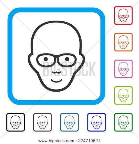 Gladness Bald Head vector pictogram. Person face has happy expression. Black, grey, green, blue, red, orange color versions of bald head symbol inside a rounded rectangle.