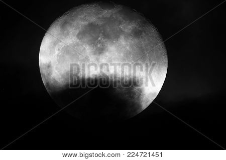 Full Moon / The full moon is the lunar phase when the Moon appears fully illuminated from Earth's perspective. This occurs when Earth is located directly between the Sun and the Moon