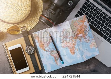 Accessories for travel or summer vacation. Travel background, top view