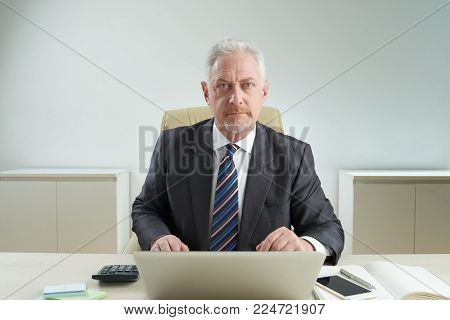 Confident elderly white collar worker looking at camera while sitting at office desk and analyzing statistic data with help of laptop, waist-up portrait shot