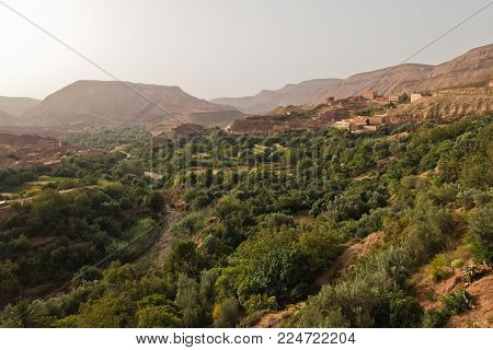 View on Dades gorge valley at sunrise in Morocco, Africa