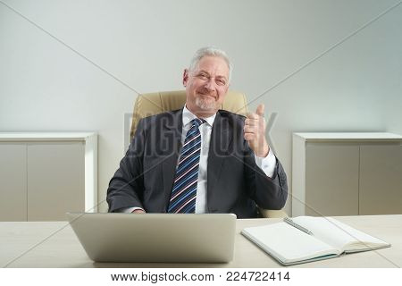 Waist-up portrait of cheerful senior businessman sitting at desk and showing thumb up, office interior on background