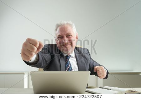 Happy elderly businessman showing clenched fists to camera while sitting at desk of modern office, waist-up portrait shot