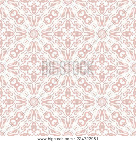 Classic seamless pink pattern. Traditional orient ornament. Classic vintage background