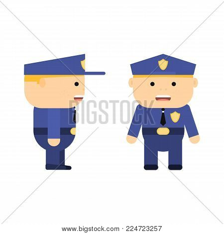 Police officer in cartoon style. Vector flat policeman. Patrolman in uniform. Character for game. Young man. Illustration isolated on white background.