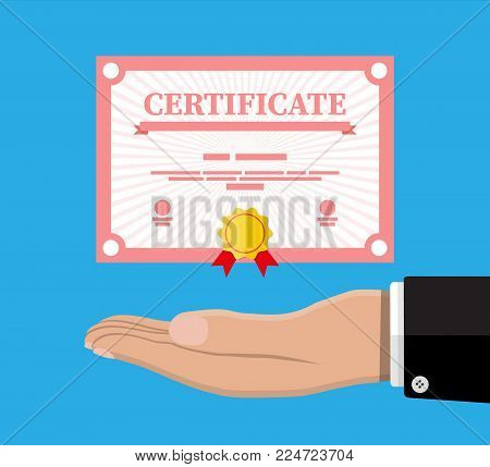 Certificate template in hand. Diploma or accreditation with yellow stamp and red ribbons. Voucher or invitation. Graduation concept. Vector illustration in flat style