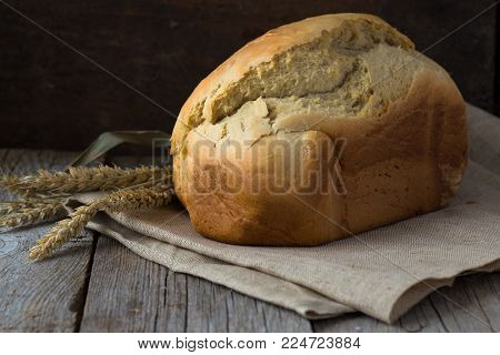 Bread Slice. Bread White. Bread On Wood. Bread On Table. Bread For Background. Bread For Breakfast.