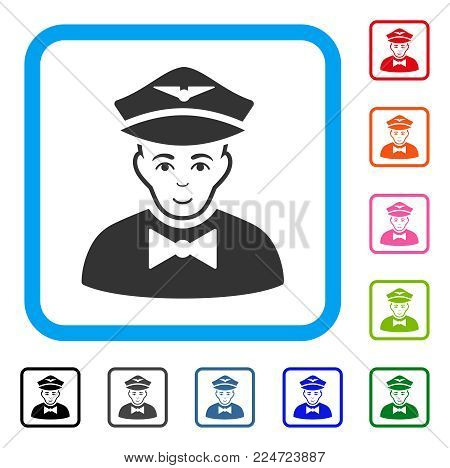 Glad Airline Steward vector icon. Person face has joyful expression. Black, grey, green, blue, red, orange color variants of airline steward symbol in a rounded squared frame.