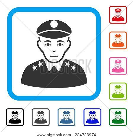 Positive Army General vector pictogram. Human face has enjoy mood. Black, grey, green, blue, red, orange color variants of army general symbol in a rounded rectangle.