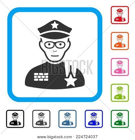 Glad Army General vector pictograph. Person face has gladness expression. Black, grey, green, blue, red, pink color variants of army general symbol in a rounded squared frame.