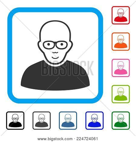 Joyful Bald Man vector icon. Human face has glad feeling. Black, gray, green, blue, red, orange color additional versions of bald man symbol in a rounded squared frame.