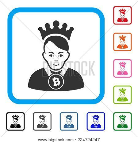 Glad Bitcoin Lord vector pictograph. Human face has joy emotions. Black, grey, green, blue, red, orange color additional versions of bitcoin lord symbol in a rounded squared frame.