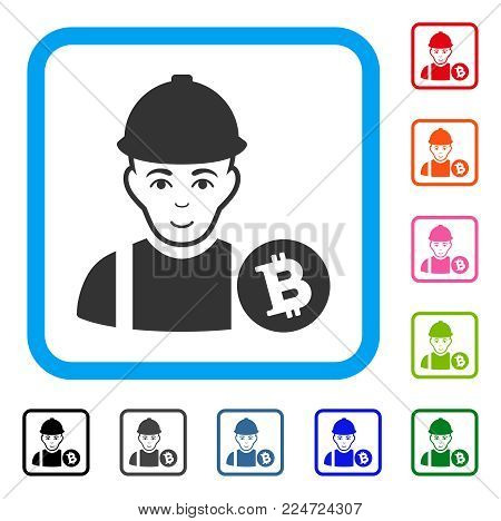 Glad Bitcoin Miner vector pictogram. Person face has glad sentiment. Black, grey, green, blue, red, orange color versions of bitcoin miner symbol in a rounded square.