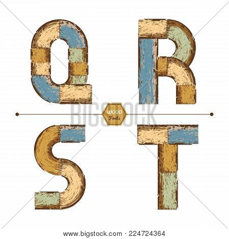 Vector graphic alphabet in a set Q, R, S, T, with color wood vintage style