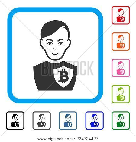 Smiling Bitcoin Police Officer vector icon. Person face has enjoy emotions. Black, gray, green, blue, red, pink color additional versions of bitcoin police officer symbol inside a rounded square.